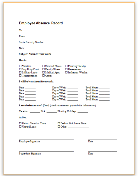 this sample form allows employers to record information about employee absences  including the