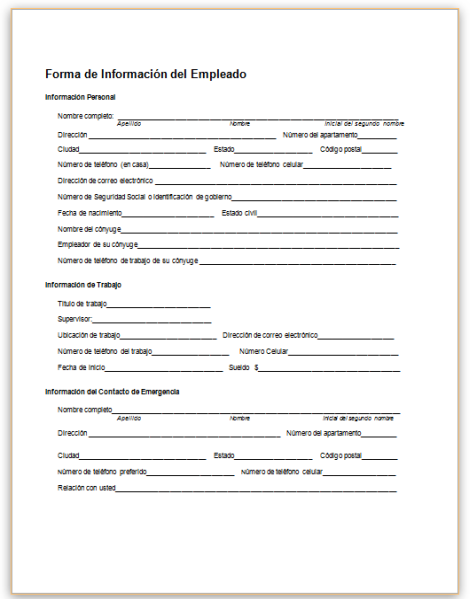 this sample form collects basic information about an