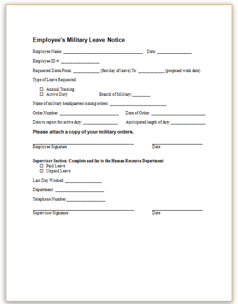 this sample notice informs the employer that an employee will be taking a leave of absence for