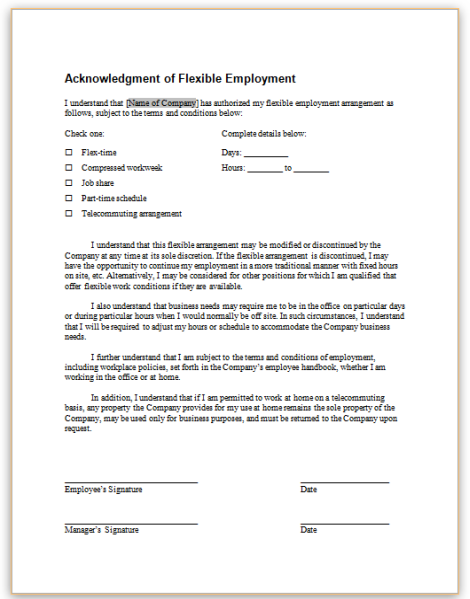this sample form acknowledges that an employer and