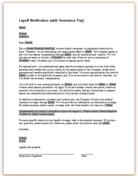 this sample letter provides notice and severance pay