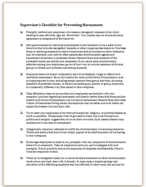 this sample checklist outlines appropriate steps managers