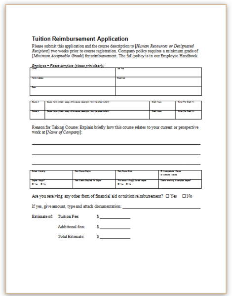Tuition%20Reimburt%20Application%20Form Ta Application Form Examples on swgc online, blank job, student year, passport renewal, teaching job, formal job, high school, fill out job, chinese visa, 8a certification,